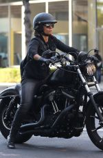 Halle Berry Shows her tough side as she takes her brand new Harley Davidson bike out for a joy ride in Beverly Hills