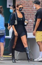Irina Shayk Looks chic in an all-black ensemble while out running errands in New Yor
