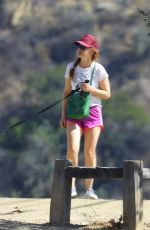 Isla Fisher In shorts walking her dog in LA