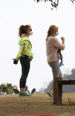 Isla Fisher Steps out to meet with a friend to go for a hike in the Hollywood Hills