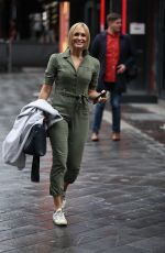 Jenni Falconer Stuns in green cargo suit at Smooth radio in London