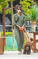 Jordana Brewster Goes for a walk with her dog in Malibu