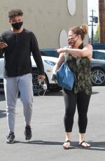 Justina Machado Look great as she heads into the DWTS studio with Brandon Armstrong in Los Angeles