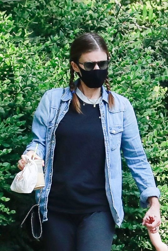 Kate Mara Getting coffee with a friend at Griffith Park in Los Feliz