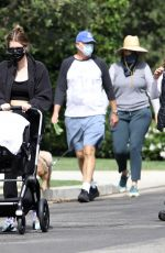 Katherine Schwarzenegger Out for a stroll in the neighborhood with her baby girl and mother Maria Shriver in Los Angeles