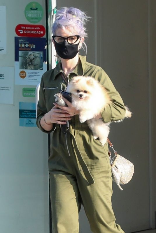 Kelly Osbourne Picks up her Pomeranian from the groomer at Healthy Spot in Los Angeles