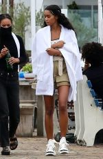 Laura Harrier On the set of a film on the Malibu pier in Los Angeles