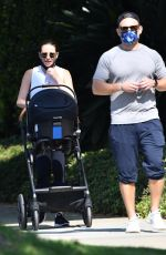 Lea Michele Goes for a walk with her husband and baby in Brentwood
