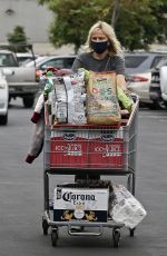 Malin Akerman Stocks up on Corona beer, chips, wine, and fresh flowers at Costco in Los Angeles