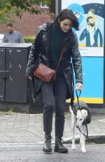 Michelle Dockery Walking her dog in London