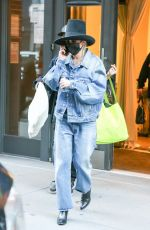 Miley Cyrus Exits a building in New York rocking a double denim look