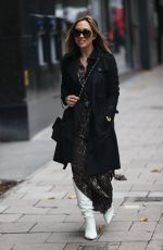 Myleene Klass Flashes legs pictured at Smooth radio in animal print dress in London