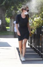 Nicky Whelan In Short dress walking Yoda in Studio City