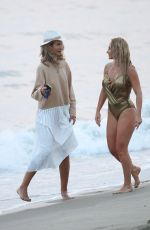 "Nikki Lund and Lady Victoria Hervey on the set of her Music Video Shoot for her new song ""You and I"" directed by Marcus Mizelle in Malibu"
