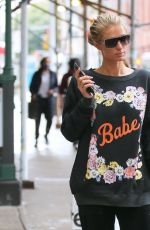 Paris Hilton -Is seen wearing a BABE sweater in New York