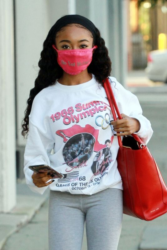 Skai Jackson Sports a vintage 1968 summer olympic shirt as she heads to the DWTS studio in Los Angeles