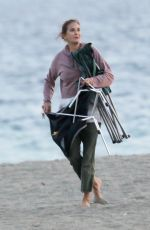 Teri Hatcher Out enjoying the sunset at the beach with friends and her dogs in Malibu