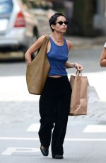 Zoë Kravitz Braless while out and about in New York