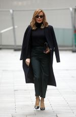 Amanda Holden Pictured at Heart radio in black sheer top in London