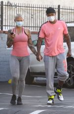 Amber Rose Showing off her curves while out for sushi following a workout session in West Hollywood