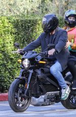 Ana De Armas Riding a motorcycle in Brentwood in see-through pants