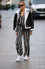 Ashley Roberts Pictured at Heart radio in striped trousers in London