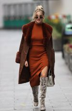 Ashley Roberts Pictured at the Heart Radio Studios in a brown dress and snakeskin printed boots in London