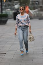 Ashley Roberts Pictured in denim and print top at Heart radio show in London