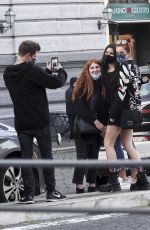 Bella Thorne Doing Halloween shopping in a make-up studio in Rome