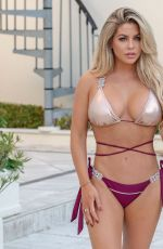 Bianca Gascoigne Puts on a busty display in a gold and purple bikini out on her holidays in Madeira