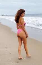 Blanca Blanco Shows off her figure in a pink bikini while out at the beach in Malibu