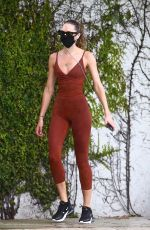 Candice Swanepoel Jogging in a bodysuit out in Miami