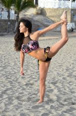 Casey Batchelor Is seen filming today in Tenerife for her fitness app Yoga Blitz