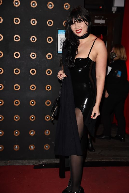 Daisy Lowe Looks sexy dressed in a black latex dress while arriving for an All Star Cabaret Halloween night in London