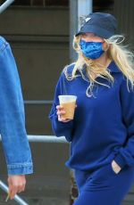 Elsa Hosk Grabs morning coffee in Soho