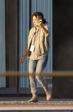 Eva Longoria Goes through the rubble while on location filming scenes for a new production in Los Angeles