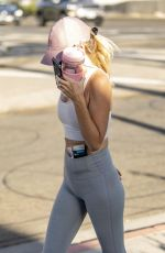 Hayley Roberts Had her face completely covered with a mask and hat while out and about in Calabasas
