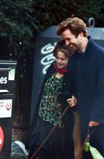 Helena Bonham Carter Having a cheeky smooch and a giggle with boyfriend Rye Dag Holmboe out in London