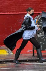 Irina Shayk Out in the rain in New York