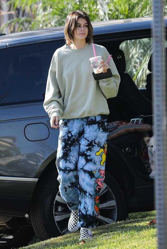 Jacob Elordi & Kaia Gerber Stay cozy in sweats as they stop to visit friends in West Hollywood