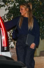 Jennifer Lopez Is in good spirits leaving dinner at Sunset Towers with friend Stevie Mackey in West Hollywood