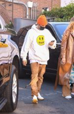 Justin and Hailey Bieber are spotted departing from the back exit after lunch at Il Pastaio in Beverly Hills