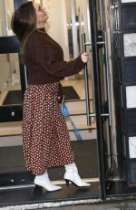 Kelly Brook Wears a polka dot skirt as she arrives at the Heart Radio Studios in London