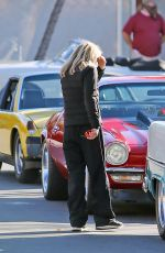 Meg Ryan Stops to check out vintage cars while out stocking up on thanksgiving groceries in Santa Monica