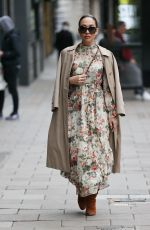 Myleene Klass Nails autumn chic in floral dress at Smooth radio in London