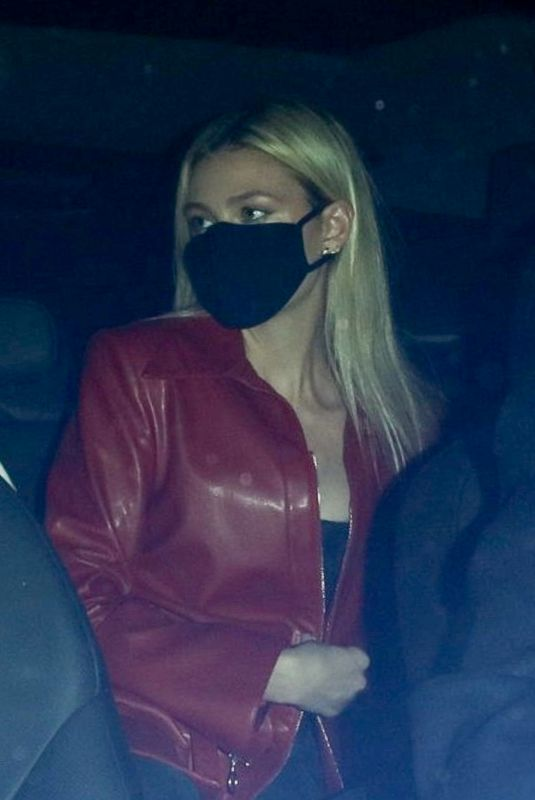 Nicola Peltz Keeps a low profile as they slip into the back of their ride after dinner at Craig