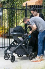 Nikki Bella Takes son Matteo out for a walk while getting her morning coffee in Studio City