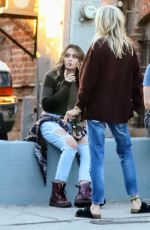 Paris Jackson Hanging out with friends for a smoke break from sound studio
