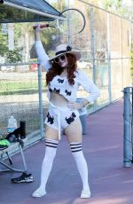 Phoebe Price Seen posing at the tennis courts
