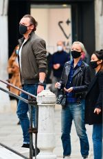 Pom Klementieff Meet with fans while on a stroll with Simon Pegg in Venice